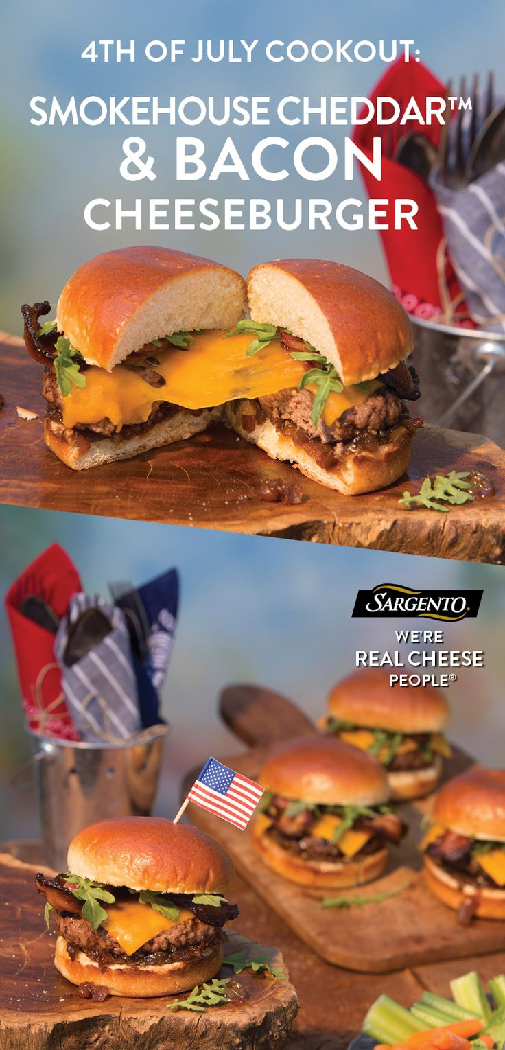 We believe that 4th of July grilling recipes should get more ambitious. So be sure to try this smoky Cheddar and bacon cheeseburger during your holiday this year. Melt our slices of 100% real, natural cheese - Smokehouse Cheddar variety –  over a Worcestershire sauce beef patty, crispy bacon slices and savory tomato or onion jam. Get the full recipe on our site.