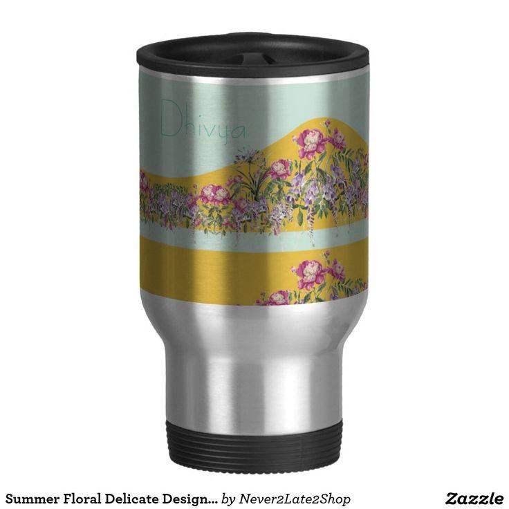 Summer Floral Delicate Design on a Steel Mug