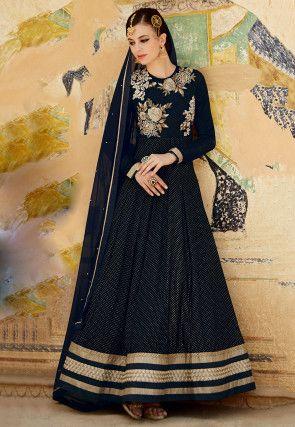 Gestickte Abaya Style-Georgette-Anzug in Schwarz