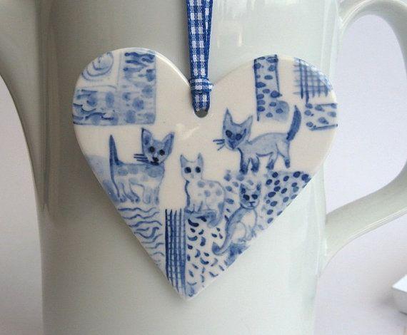 Kittens   Handpainted Delft  Porcelain Heart