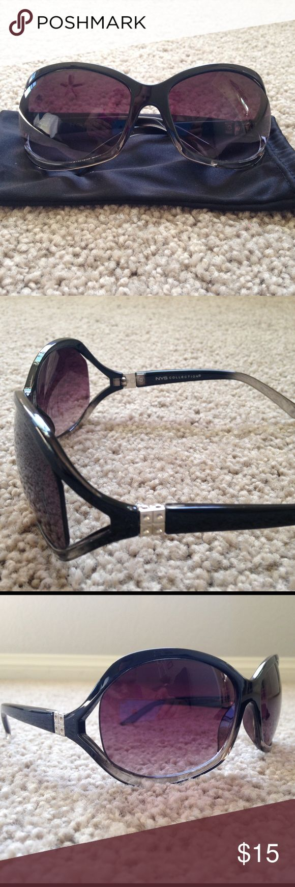 NWOT NYS sunglasses NWOT!!! Never worn!! NYS collection sunglasses. The are black with a smoke color at the bottom of the rim and the back of the bow. Come with pouch for protection. Accessories Sunglasses