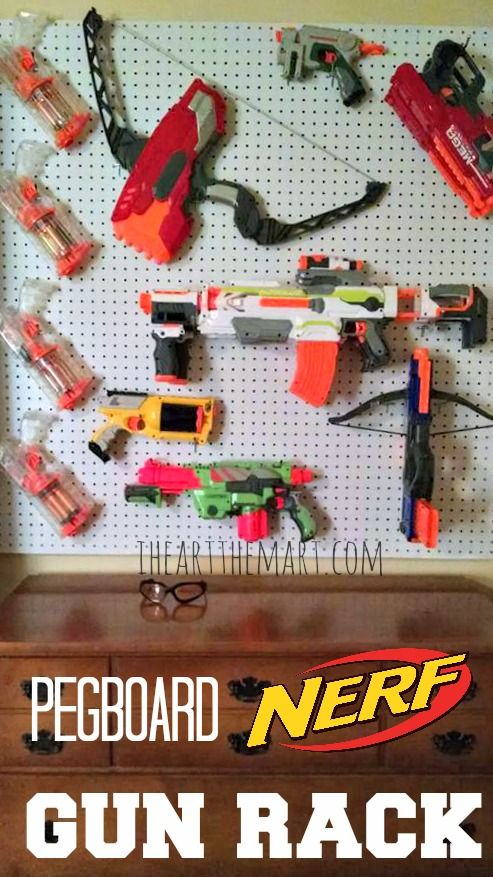 Nerf Pegboard Gun Rack - Nerf guns are a popular kids toy but keeping them organized and off the floor isn't always easy!  Check out this easy DIY Pegboard Nerf Gun Rack!