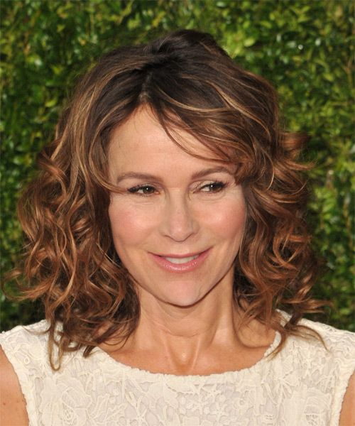 Jennifer Grey Medium Curly Hairstyle - Medium Brunette (Copper)