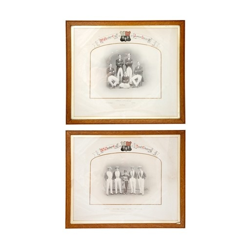 PAIR OF 1912 ETON COLLEGE PHOTOGRAPHS SIGNED WITH HANDPAINTED SCHOOL CRESTS - $360.Photographs, Eton Colleges, 1912 Eton, Pairings, Handpainted Schools, Photographers Signs, Colleges Photographers, Schools Crest