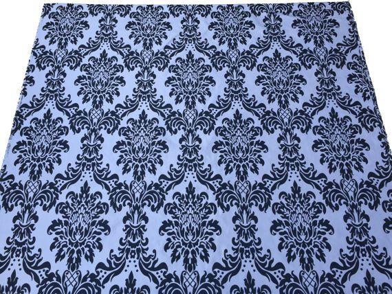 Black and White DAMASK victorian velvet flock by TheFabricShopUK