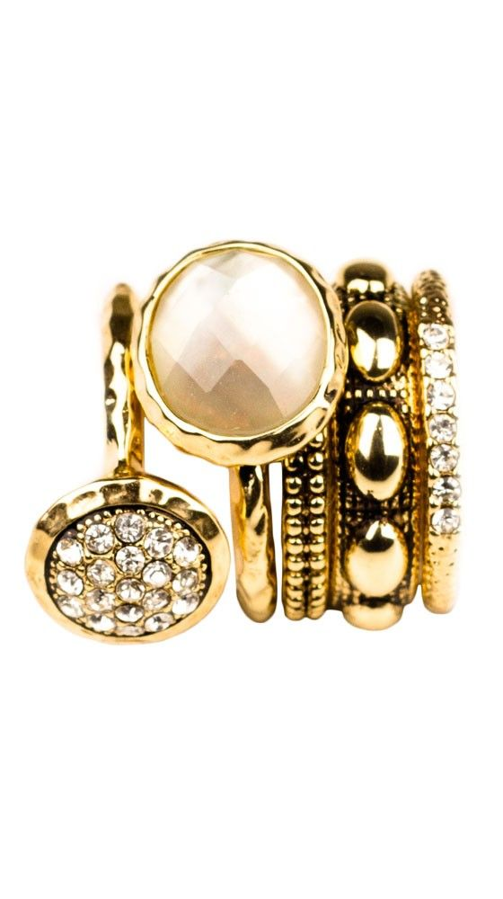 Gold, Diamond, and Pearl Stacking Rings ...