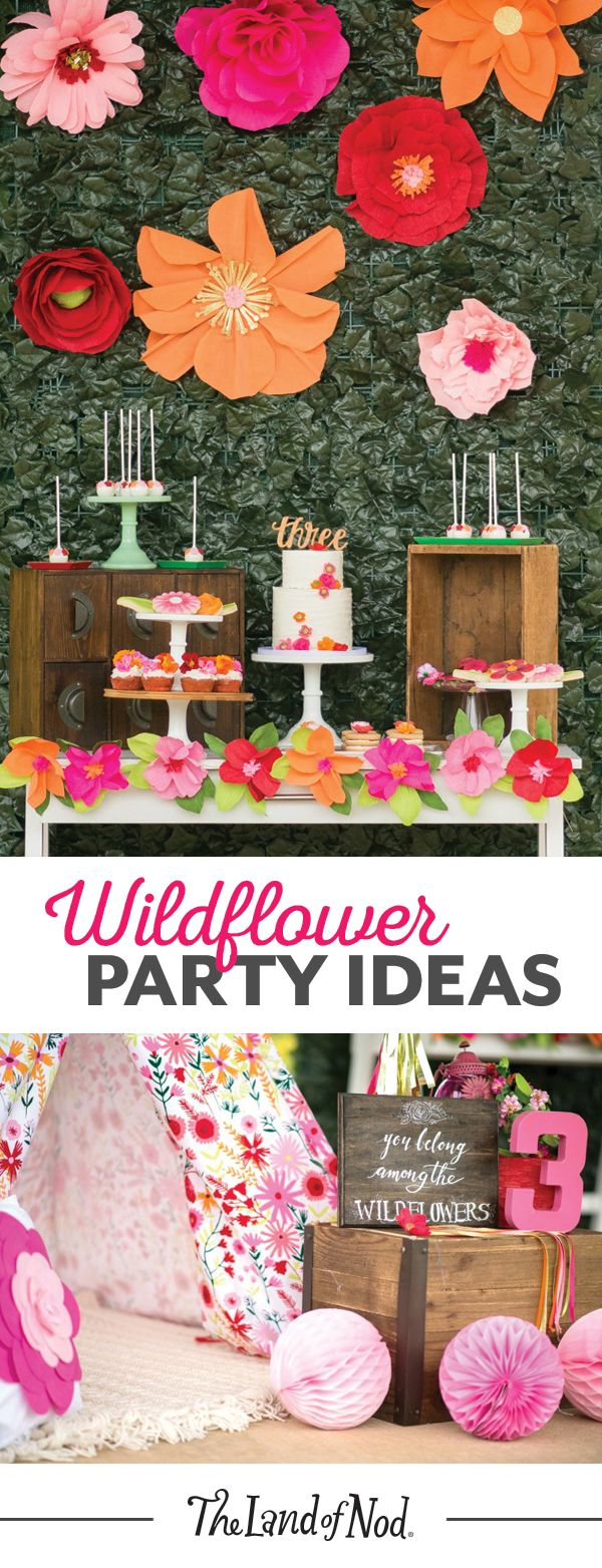 Create a day at the garden with a wildflower-themed birthday party. Flushed with colorful flowers and blossoms, this summer party idea is perfect for any kid. Add a floral teepee and vibrant decor to make a fun and inviting place for kids.