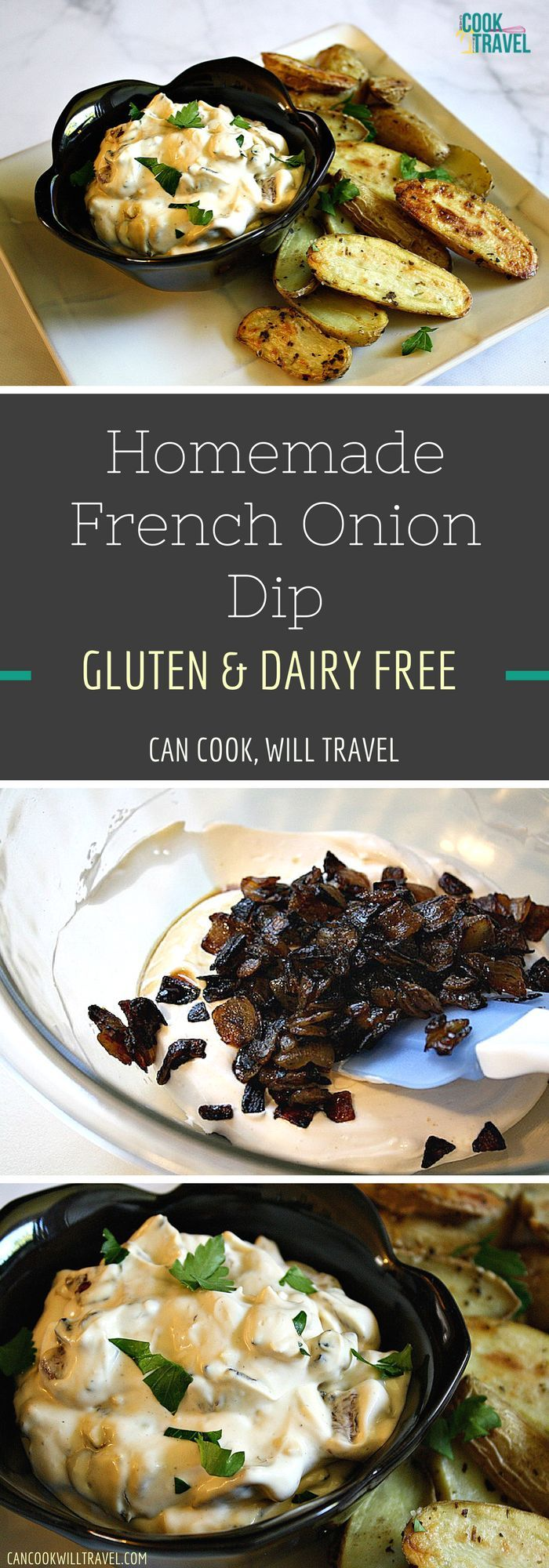 Oh yes this Dairy Free Homemade French Onion Dip is creamy, delicious, and perfect for dipping! I included a recipe for some yummy roasted potatoes to dip in it, because it's the right thing to do! Enjoy this gluten free & dairy free recipe ASAP!