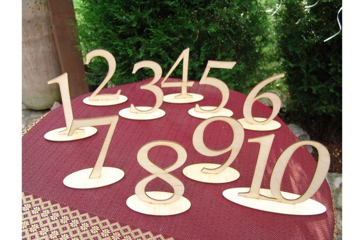 Natúr fa Asztalszám 1-10-ig 10db/csomag - Esküvői kiegészítők - kosarbolt