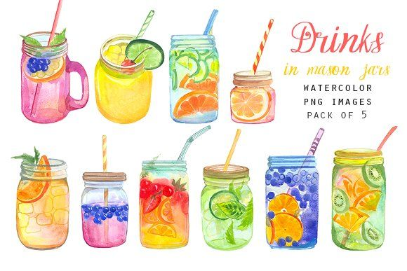 Watercolor Drinks In Mason Jars đồ Uống Y Tưởng Vẽ