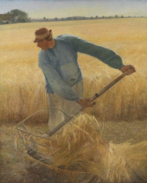 Laurits Andersen Ring (1854 - 1933)  I Høst, 1885, Olie på lærred  Landarbejderen er L.A. Rings bror, Ole Peter Andersen, og det er ved hans gård i Tehusene ved Fakse på Sydsjælland, at billedet er malet.  Harvest, 1885, Oil on canvas  The labourer is the brother of L.A. Ring, Ole Peter Andersen, and the picture was painted at his farm in Tehusene at Fakse on South Zealand.