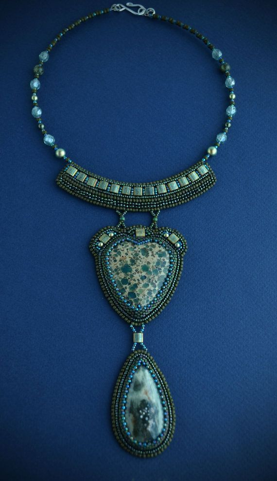 Embroidered Necklace beadwork jewelry-beaded by suzidesign