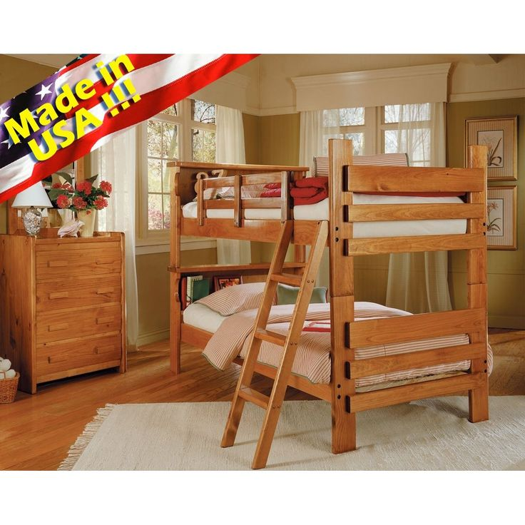 Solid wood Convertable Twin / Twin Bunk Bed w/ bookcase headboard. Made in USA | Made of solid hard asian wood, these bunk beds shine in durability and also comfortablility. Say no more to messy bedtime storybooks with the bookcase headboard.