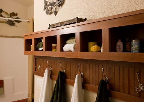 bathroom shelf and towel hanger