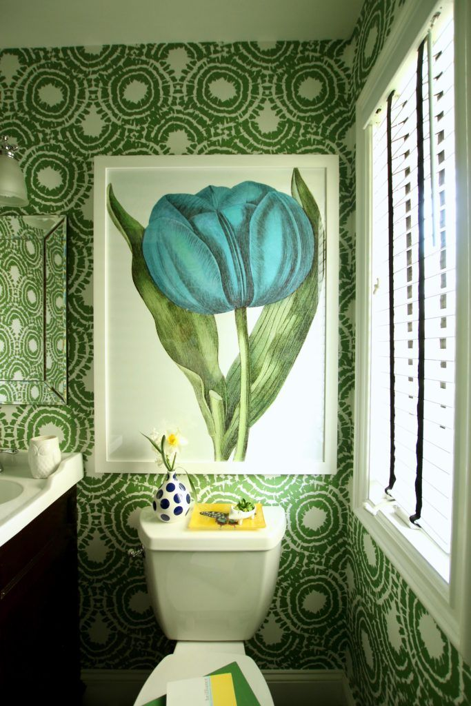 Wallpapering a Powder Room: Small on Space, Big on Style - A small space doesn't have to have small art. Make a big impact with art. This gorgeous oversized tulips print from HomeGoods takes center stage in this small colorful bathroom. Sponsored HomeGoods Post.