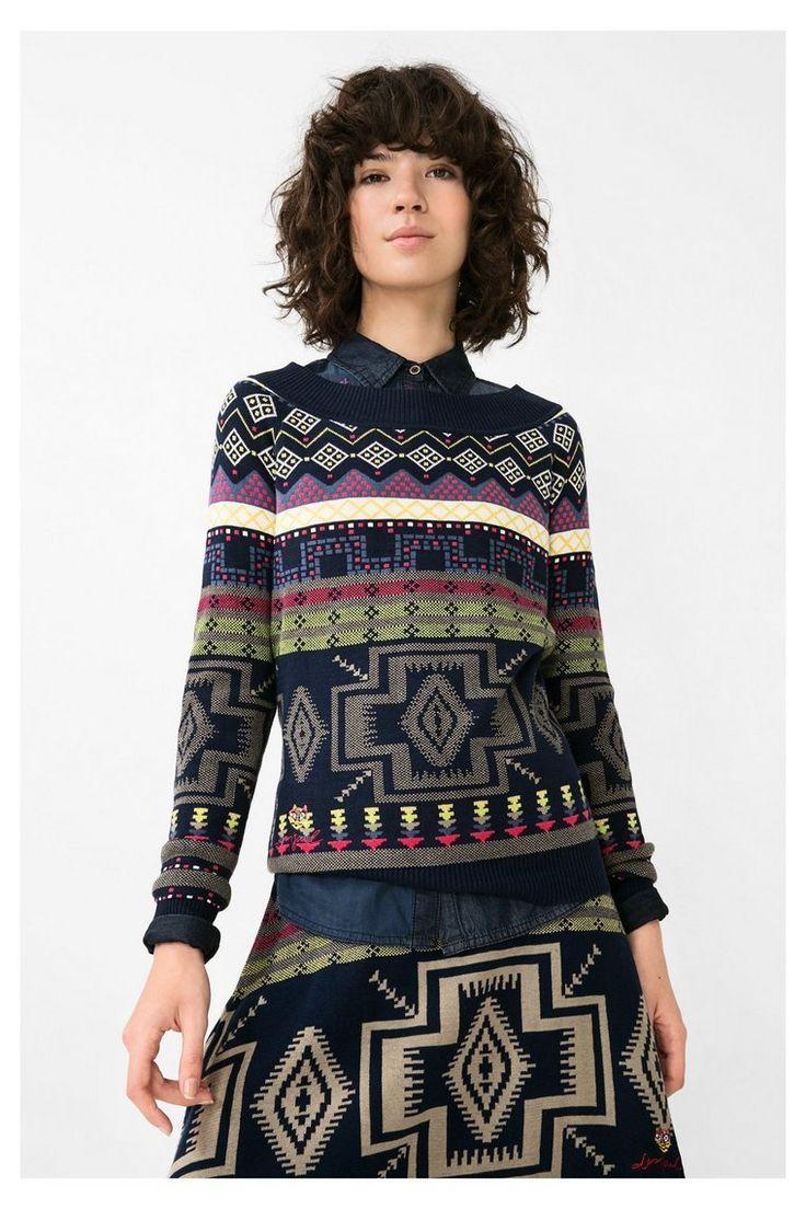 Blauwe trui met etnische print - Epoque   Desigual.com B Sweater Epoque ethnic print blue