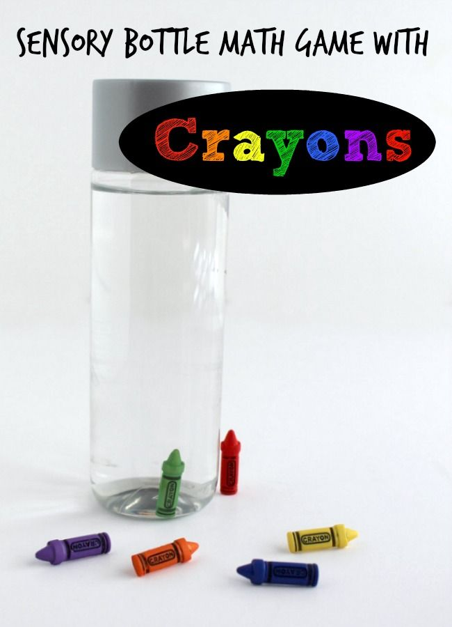 Sensory Bottle Math Game with Crayons. A fun way to teach kids about math, colors, number recognition and graphing.