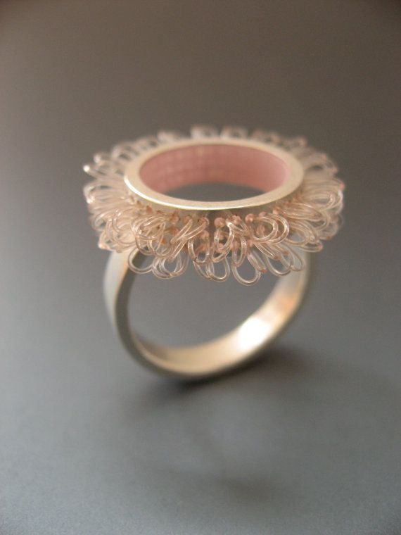 Silver Ring in rose color loops in circles by mabotte  :D