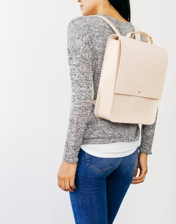 This sleek, cream-colored number is grown-up backpack perfection. #etsyfinds