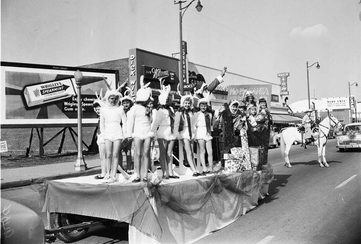 Girlsdressedasreindeer in a Hawthorne, California Christmas parade (1951)