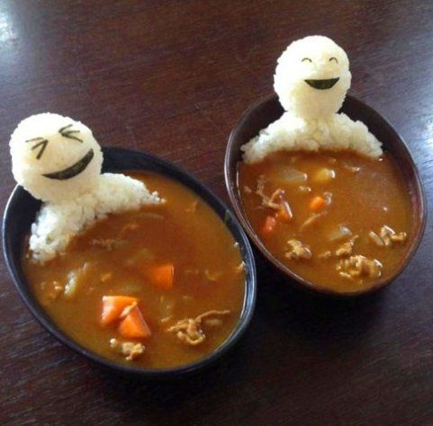 Awesome curry soup: Soups, Rice, Creative Food Art, Beef Stew, Bath, Art Ideas, Funny Food, Japanese Curries, Foodart