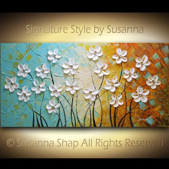 ORIGINAL Large Abstract White Flowers Oil Painting Impasto Landscape Modern Palette Knife Contemporary Fine Art by Susanna 48x24
