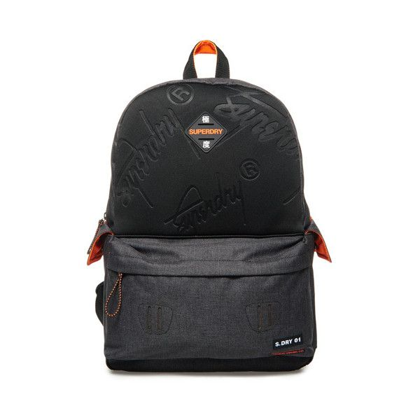 Superdry Embossed Crew Montana Rucksack ($50) ❤ liked on Polyvore featuring men's fashion, men's bags, men's backpacks, black, mens one strap backpack and mens backpack