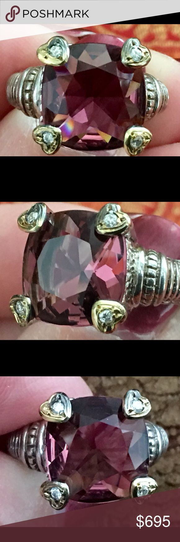 Judith Ripka 925 and 18K Amethyst & Diamond Ring This is a genuine Judith Ripka amethyst and diamond 18k gold  and sterling silver ring. This is a beautiful large ring. Size 7 1/2. Worn only a few times! Gorgeous! Price is firm! Judith Ripka Jewelry Rings