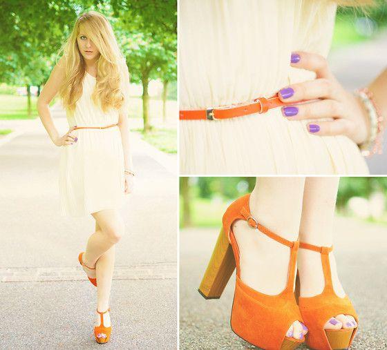 "the shoes!    Pull And Bear Pleated Dress, My1 Stwish Foxies, Yves Saint Laurent ""Parme Graffiti"" Nail Polish: Fashion, Style, Purple Nails, 2280695 Pleats And Waves, Orange Pumps, Opi Nailpolish"