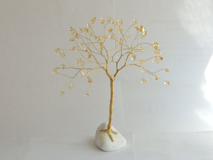 1st wedding anniversary, Gold tree sculpture, Golden anniversary, 50th wedding anniversary, 1st anniversary gift, Citrine wire tree ornament by AbssOluto on Etsy