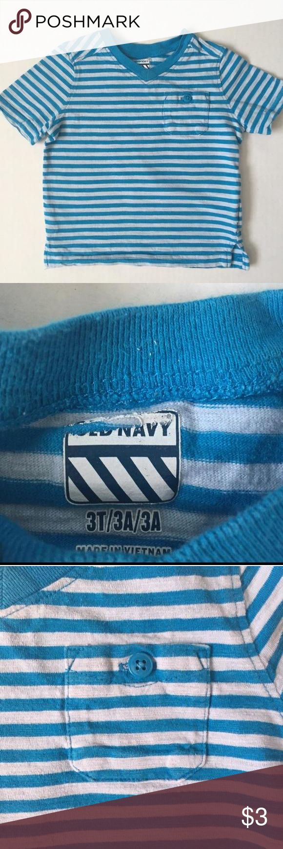 Old Nacy V Neck Turquoise Striped Shirt with Pocket Old Nacy V Neck Turquoise Striped Shirt with Pocket. Great condition! Old Navy Shirts & Tops