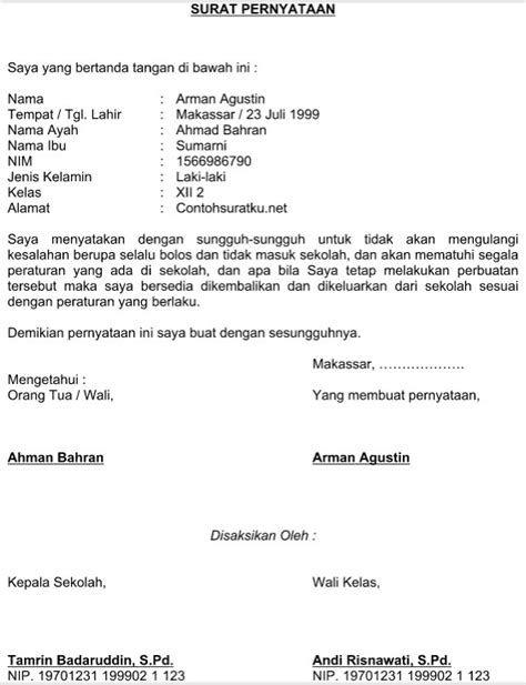 Contoh Surat Pernyataan Untuk Siswa Contoh Surat Pernyataan Untuk