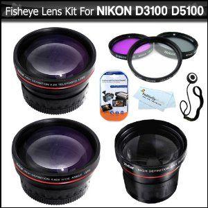 Fisheye Lens Kit For Nikon D3200 D3100 D3000 D5100 D800 DSLR Camera Which Use These (18-55mm, 55-200mm, 50mm) Nikon Lenses Includes Super Wide 0.21X Fisheye Lens + Wide Angle lens w/ Macro + 2X Telephoto Lens + Multi-Coated 3pc Filter Kit (UV-CPL-FLD) +