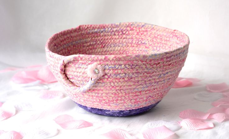 Handmade Pink Basket, Pink and Purple Bowl,  Pink Soft Pottery Basket, Decorative Grape and Pink Bowl, Easter Basket by WexfordTreasures on Etsy