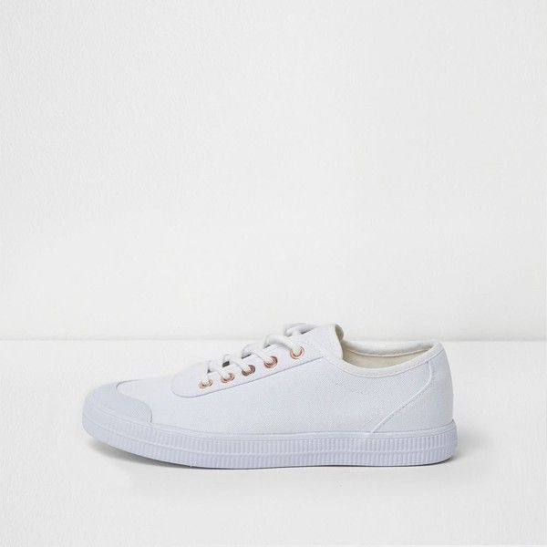 River Island White canvas lace-up