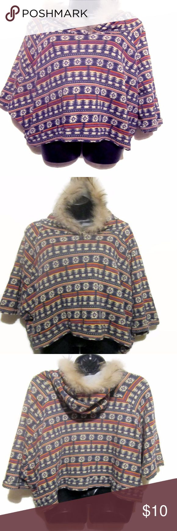 "Southwest Aztec Hooded Poncho Cute Poncho   Crop Length  Cotton Blend  Hooded  Super Soft Faux Fur Trim on Hoodie  Pullover Poncho  Southwest Aztec  Women's Size Petite Small Armpit to Armpit 25"" Length Shoulder to Hem 21""  Excellent Pre-Owned   Unique Southwest Poncho!!   Smoke Free Environment XXI Jackets & Coats Capes"