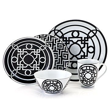 Labyrinth Dinnerware - Sets of 4 - Black & White | Dinnerware | Tabletop-and-bar | Z Gallerie - i actually like it better than Hermes' balcon du guadalquivir china