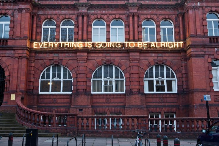 'Work no. 1086 Everything Is Going To Be Alright' neon by Martin Creed, Lumiere Durham 2011. Turner prize winning Martin Creed's piece provoked mixed reactions, is it a cliché or a message of optimism?  Photo by Matthew Andrews.