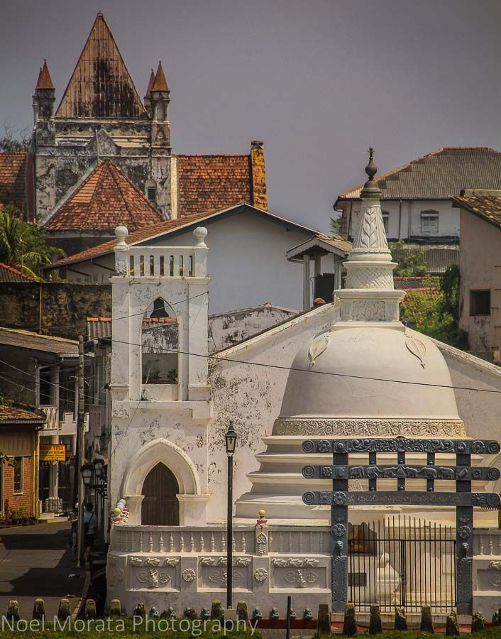 A mixture of temples and churches in Galle Fort