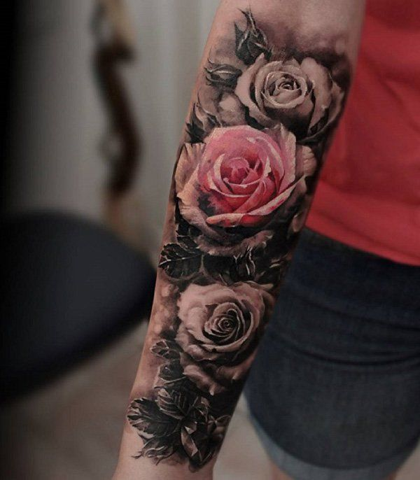 Rose sleeve tattoo - 50+ Meaningful Rose Tattoo Designs <3 <3