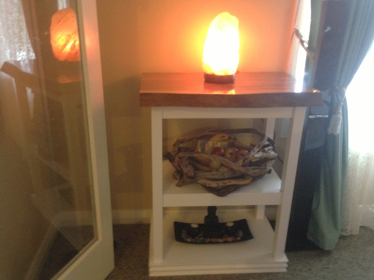 he made this lamp table and driftwood basket too