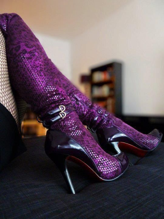 Purple boots *Visit board - best shoes, boots  heels ♡ to be added just comment on a post**