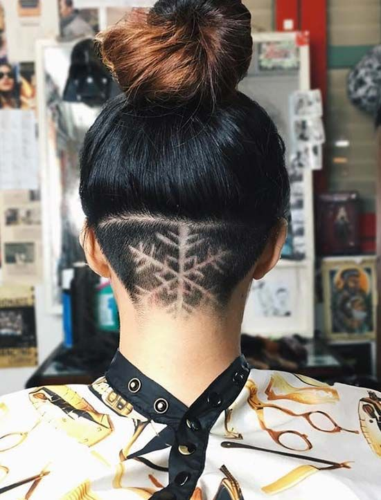 Women's Updo Undercut Hairstyles with Hair Tattoos