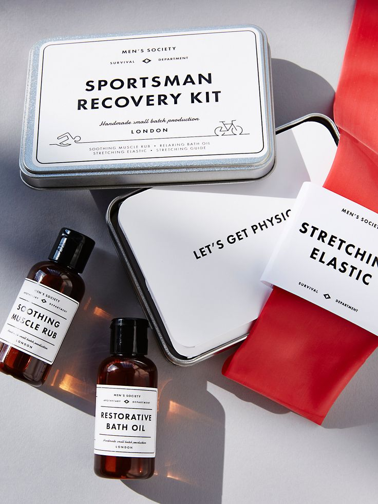 Sportsman Recovery Kit | Enjoy some much-needed rest and relaxation after tough workouts with this recovery kit. Featuring Soothing Muscle Rub, Restorative Bath Oil, Stretching Elastic and Stretching Guide, this set is perfect for easing tension in sore muscles after sporting up.    * Soothing Muscle Rub: 1.7 fl. oz.   * Restorative Bath Oil: 1.7 fl. oz.