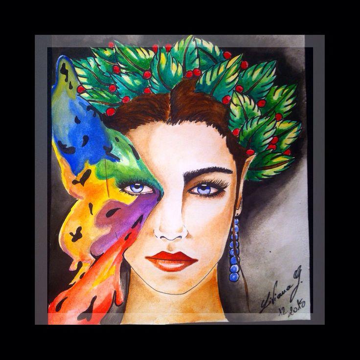 My art Liviana ink tattoo  #woman #Draw #watercolor #paint #art #acquarello #Butterfly #farfalla