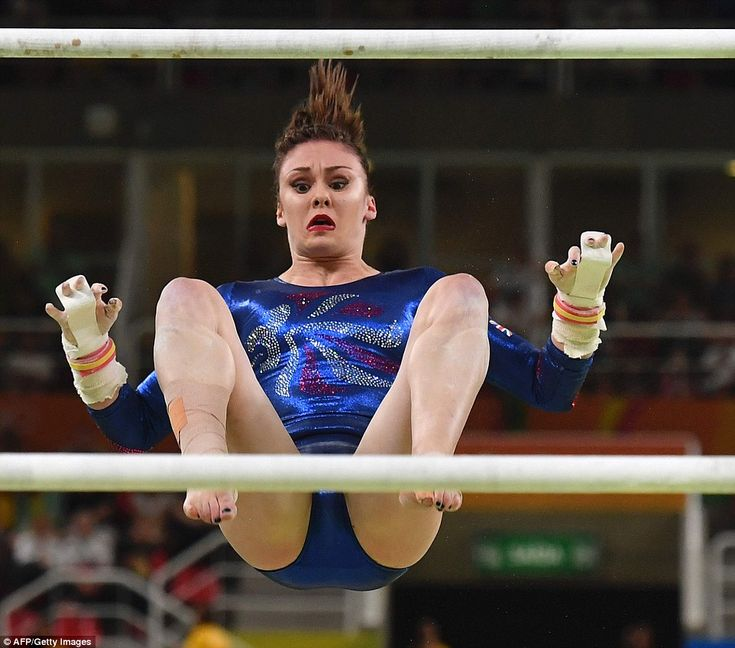 Britain's Ruby Harrold wears a look of great concern as she competes in the qualifying of the women's Uneven Bars tournament