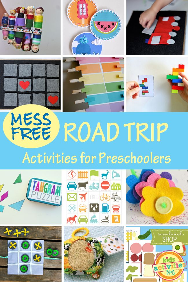 mess free road trip activities for preschoolers