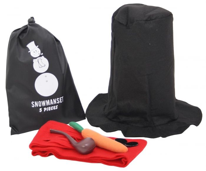 Sneeuwmanset in een tas - Snowmanset in a Sachet Black - Winter - Relatiegeschenken