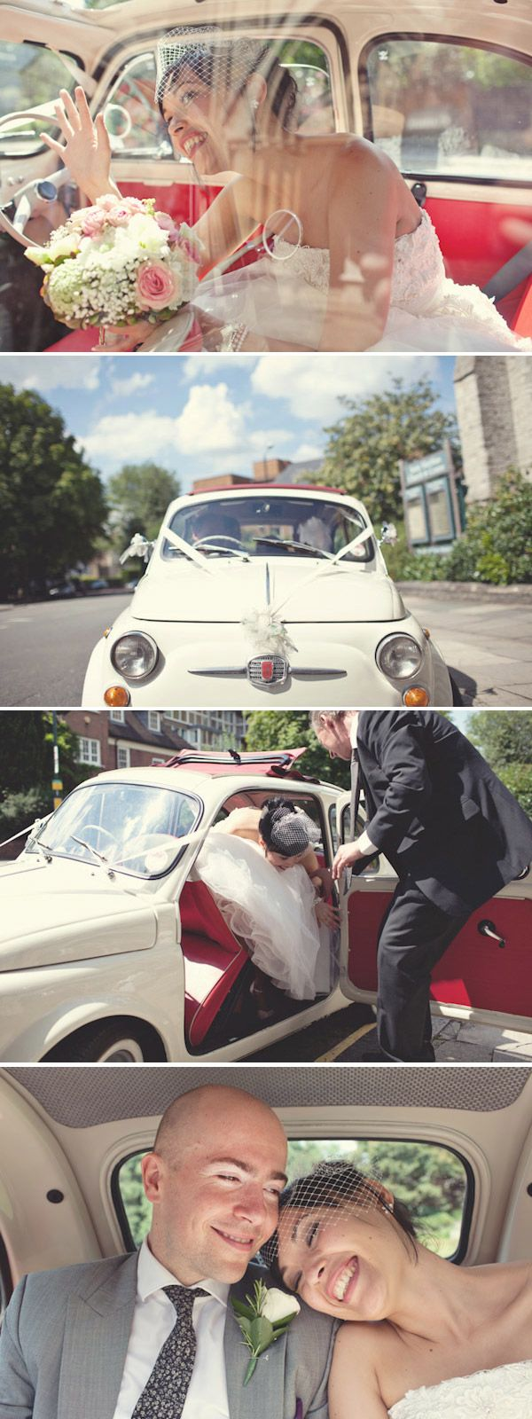 Who doesn't love a diddy fiat 500, such a cute wedding car