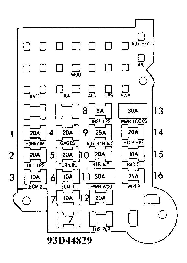 1994 Chevy Astro Van Fuse Diagram